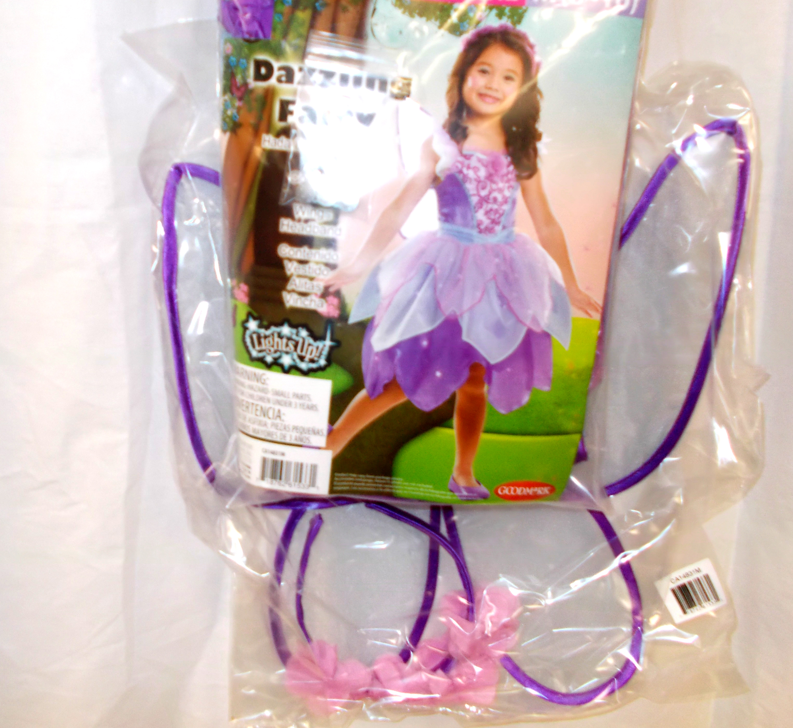 Dazzling Fairy Light-Up Purple Child Costume Wings S M L ...