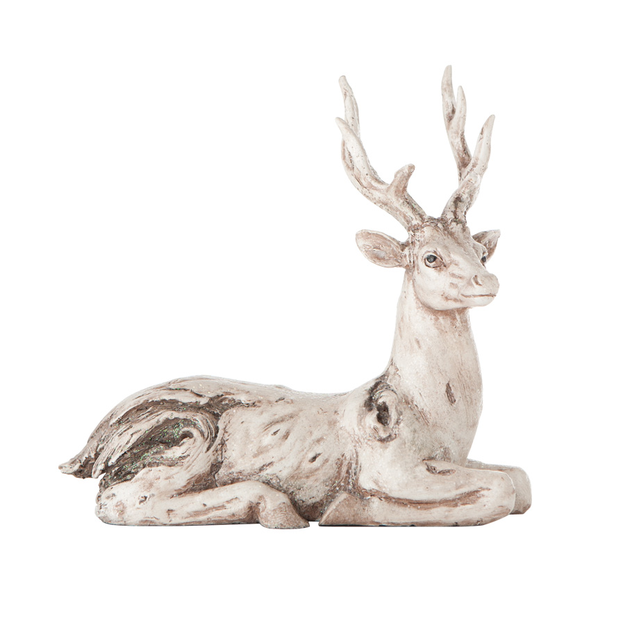 White Wash Deer Reindeer Sitting Holiday Christmas Home ...