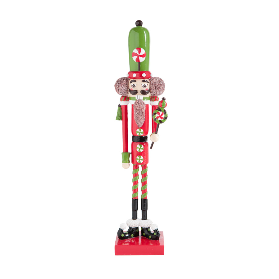 Nutcracker toy soldier red metal christmas decor tall