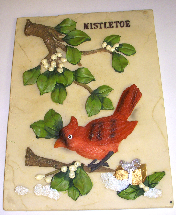 Cardinal Mistletoe Christmas Holiday Home Decor Plaque New